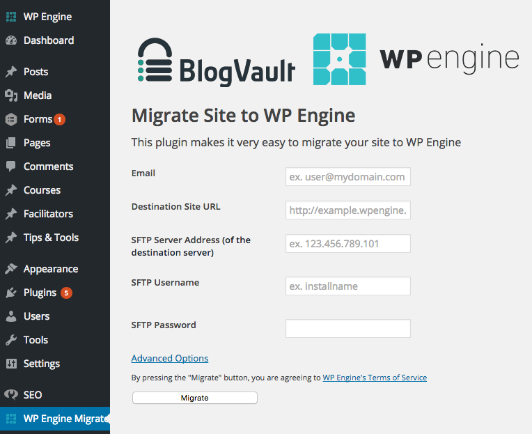 WP Engine Migration Plugin Credentials